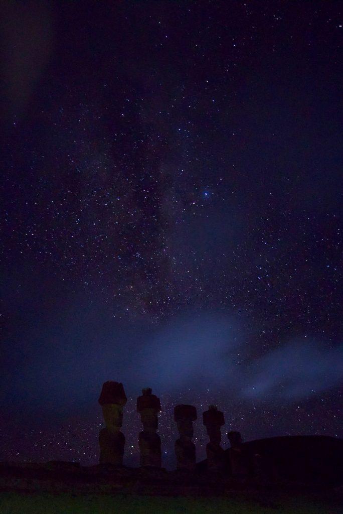Moai bei Nacht mit der Milchstraße im Hintergrund